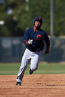 Cleveland Indians Jose Vicente (27) during an instructional league game against the Milwaukee Brewers on October 8, 2015 at the Maryvale Baseball Complex in Maryvale, Arizona.  (Mike Janes/Four Seam Images)