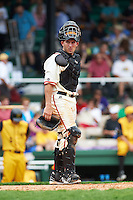 Birmingham Barons catcher Adrian Nieto (6) during the 20th Annual Rickwood Classic Game against the Jacksonville Suns on May 27, 2015 at Rickwood Field in Birmingham, Alabama.  Jacksonville defeated Birmingham by the score of 8-2 at the countries oldest ballpark, Rickwood opened in 1910 and has been most notably the home of the Birmingham Barons of the Southern League and Birmingham Black Barons of the Negro League.  (Mike Janes/Four Seam Images)