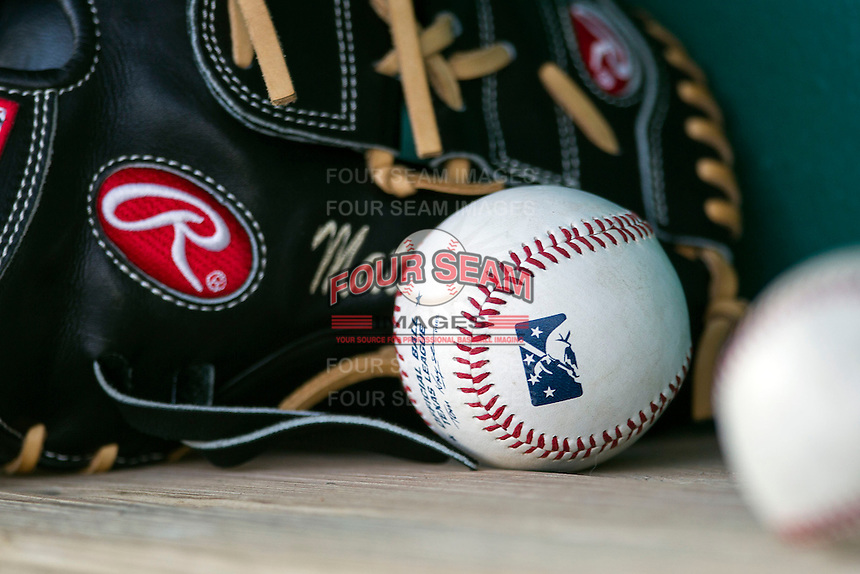 Baseball and glove on August 22, 2013 at the Nelson Wolff Stadium in San Antonio, Texas. Frisco defeated San Antonio 2-1. (Andrew Woolley/Four Seam Images)