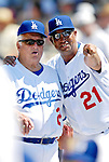 13 March 2007: Los Angeles Dodgers Special Advisor to the Chairman Tommy Lasorda (left) listens to a spring instructor during a game against the Detroit Tigers during a spring training game at Holman Stadium in Vero Beach, Florida.<br /> <br /> Mandatory Photo Credit: Ed Wolfstein Photo