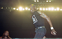 """NBA star Dennis Rodmon participates in a NWO """"Bash at the Beach"""" pro wrestling event in Daytona Beach, FL, July 1997.  (Photo by Brian Cleary/www.bcpix.com)"""