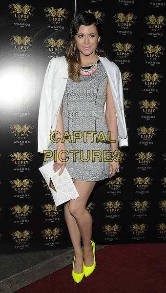 Lilah Parsons<br /> The Lipsy VIP Fashion Awards 2013, DSTRKT, Rupert St., London, England.<br /> May 29th, 2013<br /> full length white grey gray dress blazer over shoulders clutch bag yellow shoes <br /> CAP/CAN<br /> &copy;Can Nguyen/Capital Pictures