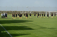 20190226 - LARNACA , CYPRUS :  illustration picture shows the Belgian players during a Matchday -1 training from The Belgian Red Flames prior to their game against the women team of Slovakia , on Tuesday 26 February 2019 at the Alpha Sports Grounds in Larnaca , Cyprus . This will be the first game in group C for Belgium during the Cyprus Womens Cup 2019 , a prestigious women soccer tournament as a preparation on the European Championship 2021 qualification duels. PHOTO SPORTPIX.BE | STIJN AUDOOREN