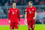 09.11.2019, Allianz Arena, Muenchen, GER, 1.FBL,  FC Bayern Muenchen vs. Borussia Dortmund, DFL regulations prohibit any use of photographs as image sequences and/or quasi-video, im Bild Robert Lewandowski (FCB #9) mit Javi Martinez (FCB #8) <br /> <br />  Foto © nordphoto / Straubmeier