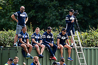 Bristol Bears coaches watch the action from the sidelines. Premiership Rugby Shield match, between Bristol Bears A and Bath United on August 31, 2018 at the Cribbs Causeway Ground in Bristol, England. Photo by: Patrick Khachfe / Onside Images