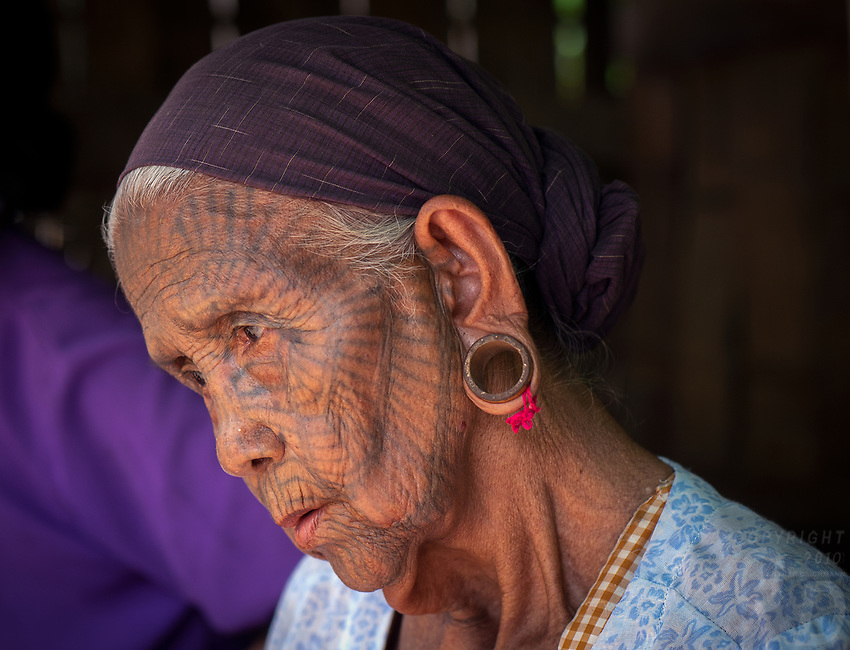 """""""The Spider Women"""" ethnic minority Chin Tribe from the Rakhine State, Myanmar. These are the last 6 women with full facial Tattoos in the design of a spider web hence they been called the Spider Women"""