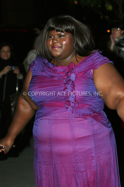WWW.ACEPIXS.COM . . . . .  ....November 17 2009, New York City....Actress Gabourey Sidibe arriving at MoMA's Second Annual Film Benefit, Honoring Tim Burton at the MOMA on November 17, 2009 in New York.....Please byline: NANCY RIVERA- ACE PICTURES.... *** ***..Ace Pictures, Inc:  ..tel: (212) 243 8787 or (646) 769 0430..e-mail: info@acepixs.com..web: http://www.acepixs.com
