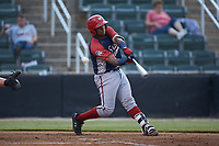 Israel Pineda (20) of the Hagerstown Suns at bat against the Kannapolis Intimidators at Kannapolis Intimidators Stadium on August 27, 2019 in Kannapolis, North Carolina. The Intimidators defeated the Suns 5-4. (Brian Westerholt/Four Seam Images)