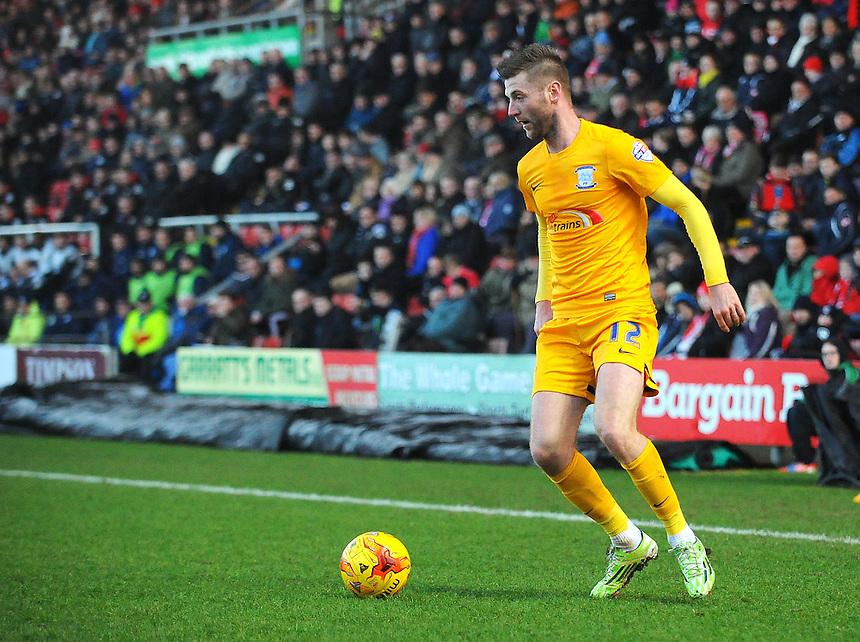 Preston North End's Paul Gallagher in action during todays match  <br /> <br /> Photographer Kevin Barnes/CameraSport<br /> <br /> Football - The Football League Sky Bet League One - Crewe Alexandra v Preston North End - Sunday 28th December 2014 - Alexandra Stadium - Crewe<br /> <br /> &copy; CameraSport - 43 Linden Ave. Countesthorpe. Leicester. England. LE8 5PG - Tel: +44 (0) 116 277 4147 - admin@camerasport.com - www.camerasport.com