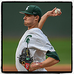 Starting pitcher Mason Erla (30) of the Michigan State Spartans delivers a pitch in a game against the Connecticut Huskies on Friday, March 15, 2019, at Fluor Field at the West End in Greenville, South Carolina. (Tom Priddy/Four Seam Images)