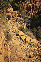 A section of rip rap, or cobblestone, on the Grandview Trail as it descends to Horseshoe Mesa, Grand Canyon National Park.