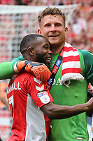 Charlton goalkeeper, Dillon Phillips celebrates with Mark Marshall after the final whistle during Charlton Athletic vs Sunderland AFC, Sky Bet EFL League 1 Play-Off Final Football at Wembley Stadium on 26th May 2019