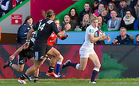 Fiona Pocock makes a break on the wing and goes on to score a try, England Women v New Zealand Women in an Old Mutual Wealth Series, Autumn International match at Twickenham Stoop, Twickenham, England, on 19th November 2016. Full Time score 20-25