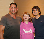 Tyler Christopher - Dominic Zamprogna - General Hospital pose with Kaitlyn who came all the way from Michigan and drew a picture of each at Uncle Vinny's/Ferraras at the Crown Plaza in Trevose, Pennsylvania on April 22, 2010 to see fans with a q & a and autographs and taking of photos. (Photo by Sue Coflin/Max Photos0