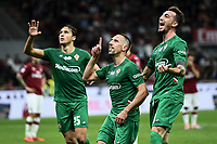 Franck Ribery of Fiorentina celebrates with Federico Chiesa and Gaetano Castrovilli after scoring the goal of 0-3 <br /> Milano 29/09/2019 Stadio Giuseppe Meazza <br /> Football Serie A 2019/2020 <br /> AC Milan - ACF Fiorentina   <br /> Photo Image Sport / Insidefoto
