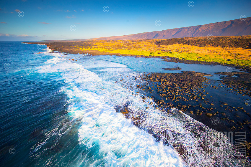 An aerial view of the southeastern shoreline of Hawaii Island.