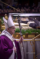 Pope Francis leads the Ash Wednesday mass opening Lent, before The transparent coffin of St Padre Pio in St Peter's Basilica, at the Vatican. On February 10, 2016