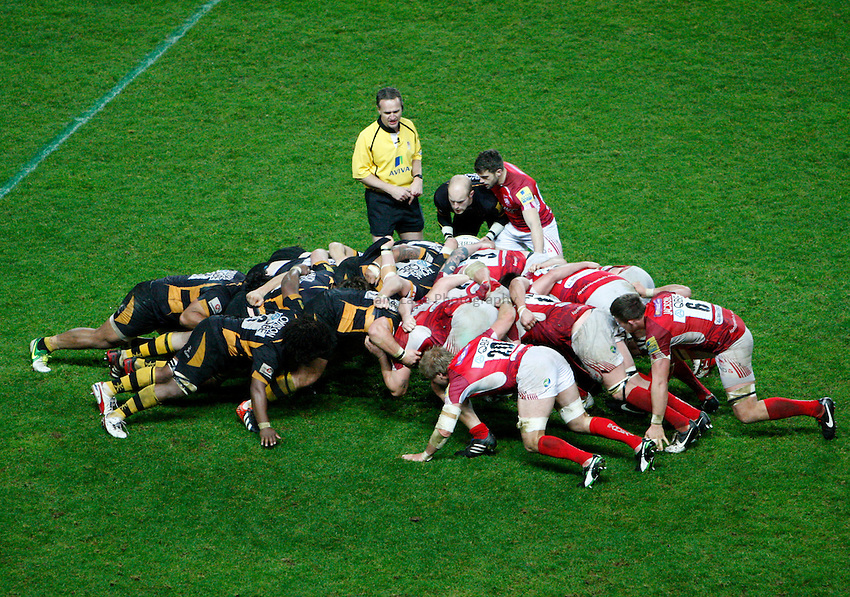 Photo: Richard Lane/Richard Lane Photography. London Welsh v London Wasps. 29/12/2012. Scrum.