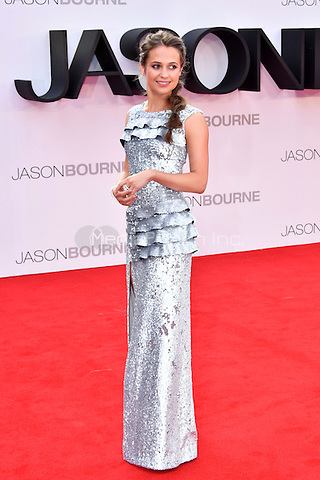 Alicia Vikander at Jason Bourne UK film premiere,the fifth instalment in the Bourne franchise, at Odeon Leicester Square, London, England 11 July 2016.<br /> CAP/JOR<br /> &copy;JOR/Capital Pictures /MediaPunch ***NORTH AND SOUTH AMERICAS ONLY***