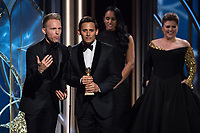 The Golden Globe for BEST ORIGINAL SONG &ndash; MOTION PICTURE goes to &quot;This Is Me&quot; for &ldquo;The Greatest Showman&rdquo; - music and lyrics by: Justin Paul and Benj Pasek - at the 75th Annual Golden Globe Awards at the Beverly Hilton in Beverly Hills, CA on Sunday, January 7, 2018.<br /> *Editorial Use Only*<br /> CAP/PLF/HFPA<br /> &copy;HFPA/PLF/Capital Pictures