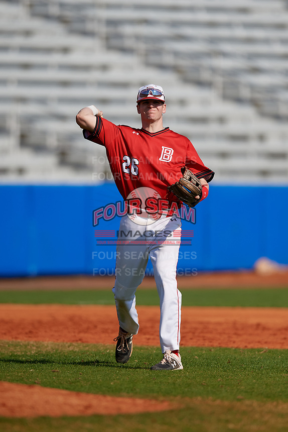 Bradley Braves third baseman Brendan Dougherty (26) throws to first base during a game against the Dartmouth Big Green on March 21, 2019 at Chain of Lakes Stadium in Winter Haven, Florida.  Bradley defeated Dartmouth 6-3.  (Mike Janes/Four Seam Images)