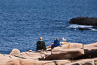 A man and a woman look at the ocean as they sit by a seagull on the rocky shore of  Acadia National Park on Mount Desert Island in Maine Wednesday June 19, 2013. Created as Lafayette National Park in 1919 and renamed Acadia in 1929, the  park includes mountains, an ocean shoreline, woodlands, and lakes.