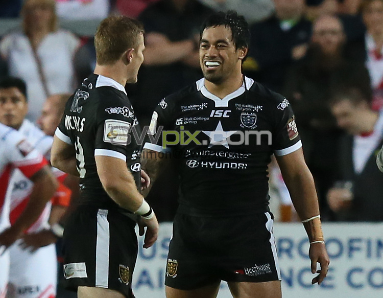 Picture by Paul Currie/SWpix.com - 02/09/2016 - Rugby League - First Utility Super League - St Helens v Hull FC - Langtree Park, St Helens, England - Hull FC's Mahe Fonua celebrates scoring the 1st try