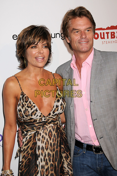 LISA RINNA & HARRY HAMLIN .The Hollyrod Foundation's Signature Event, Designcare celebrates it's 10th Anniversary benefiting Autism and Parkinson's Disease held at a Private Residence, Malibu, California, USA, .19 July 2008..half length brown leopard print long dress cleavage grey gray jacket pink shirt jeans .CAP/ADM/BP.©Byron Purvis/Admedia/Capital PIctures