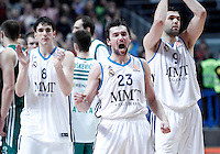 Real Madrid's Carlos Suarez (l), Sergio Llull (c) and Felipe Reyes celebrate the victory after Euroleague 2012/2013 match.January 11,2013. (ALTERPHOTOS/Acero) /NortePhoto