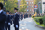 Police officers stand guard before the royal parade to mark the enthronement of Japanese Emperor Naruhito in Tokyo, Japan on Sunday, November 10, 2019. (Photo by AFLO)