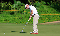 Paul McGinley (IRL) on the 11th green during Round 3 of the Maybank Malaysian Open at the Kuala Lumpur Golf & Country Club on Saturday 7th February 2015.<br /> Picture:  Thos Caffrey / www.golffile.ie