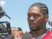 Washington Redskins safety Sean Taylor (21) meets reporters during the team's mini-camp at Redskins Park in Ashburn, Virginia on June 16, 2006.<br /> Credit: Arnie Sachs / CNP