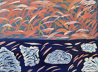 """SALMON RUN"" A fanciful look at a salmon run here in the great state of Montana. A place where the imagination can run free with all creatures who live here.<br />