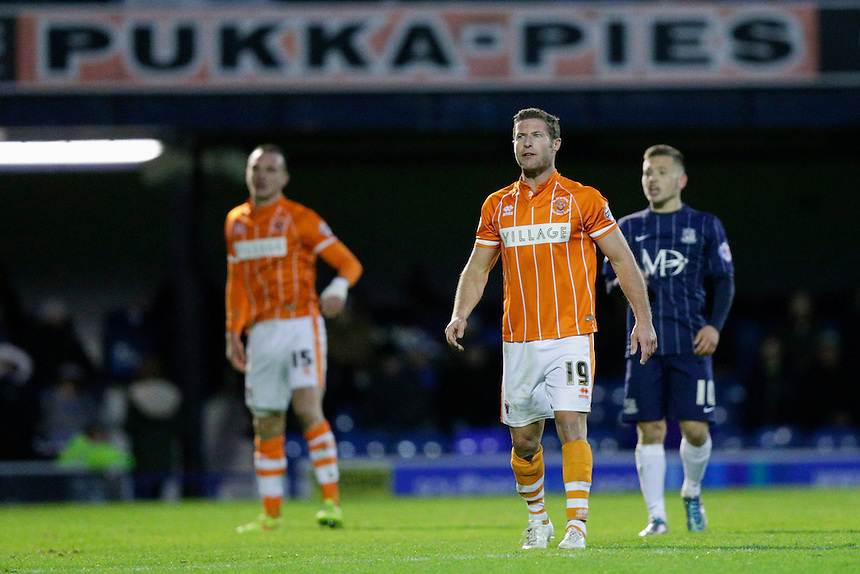 Blackpool's David Norris during today's match<br /> <br /> Photographer Craig Mercer/CameraSport<br /> <br /> Football - The Football League Sky Bet League One - Southend United v Blackpool - Saturday 21st November 2015 - Roots Hall - Southend<br /> <br /> &copy; CameraSport - 43 Linden Ave. Countesthorpe. Leicester. England. LE8 5PG - Tel: +44 (0) 116 277 4147 - admin@camerasport.com - www.camerasport.com