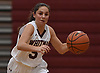 Danielle Kleet #5 of Whitman moves the ball upcourt during a non-league tournament game against Hauppauge at Whitman High School on Friday, Nov. 30, 2018. Whitman won by a score 51-46 in overtime.