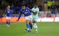 Cardiff City's Josh Murphy battles with Queens Park Rangers' Bright Osayi-Samuel<br /> <br /> Photographer Ian Cook/CameraSport<br /> <br /> The EFL Sky Bet Championship - Cardiff City v Queens Park Rangers - Wednesday 2nd October 2019  - Cardiff City Stadium - Cardiff<br /> <br /> World Copyright © 2019 CameraSport. All rights reserved. 43 Linden Ave. Countesthorpe. Leicester. England. LE8 5PG - Tel: +44 (0) 116 277 4147 - admin@camerasport.com - www.camerasport.com