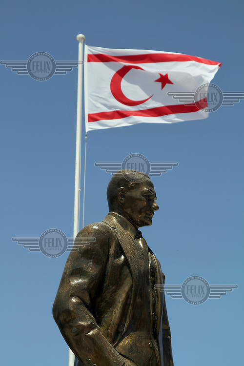 A statue of Ataturk with the flag of the Turkish occupied North Cyprus.