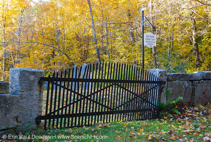 Old Home Cemetery in Bridgewater, New Hampshire during the autumn months.