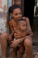 girls with baby, street scene in Havana, Cuba