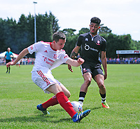 Lincoln United's Luke Hornsey under pressure from Lincoln City's Josh Ginnelly<br /> <br /> Photographer Chris Vaughan/CameraSport<br /> <br /> Football - Pre-Season Friendly - Lincoln United v Lincoln City - Saturday 8th July 2017 - Sun Hat Villas Stadium - Lincoln<br /> <br /> World Copyright &copy; 2017 CameraSport. All rights reserved. 43 Linden Ave. Countesthorpe. Leicester. England. LE8 5PG - Tel: +44 (0) 116 277 4147 - admin@camerasport.com - www.camerasport.com