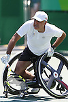 Stephane Houdet (FRA),<br /> SEPTEMBER 13, 2016 - Wheelchair Tennis : <br /> Men's Singles Quater-Final<br /> at Olympic Tennis Centre<br /> during the Rio 2016 Paralympic Games in Rio de Janeiro, Brazil.<br /> (Photo by Shingo Ito/AFLO)