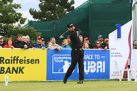 Lee Slattery (ENG) on the 1st tee during Round 4 of the D+D Real Czech Masters at the Albatross Golf Resort, Prague, Czech Rep. 03/09/2017<br /> Picture: Golffile | Thos Caffrey<br /> <br /> <br /> All photo usage must carry mandatory copyright credit     (&copy; Golffile | Thos Caffrey)