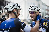 Marcel Kittel (DEU/Etixx-Quickstep) congratulates teammate Tom Boonen (BEL/Etixx-Quickstep) with his win<br /> <br /> Brussels Cycling Classic 2016