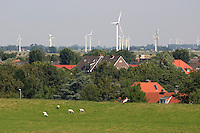 Along the Kiel Canal in Germany with the windmills