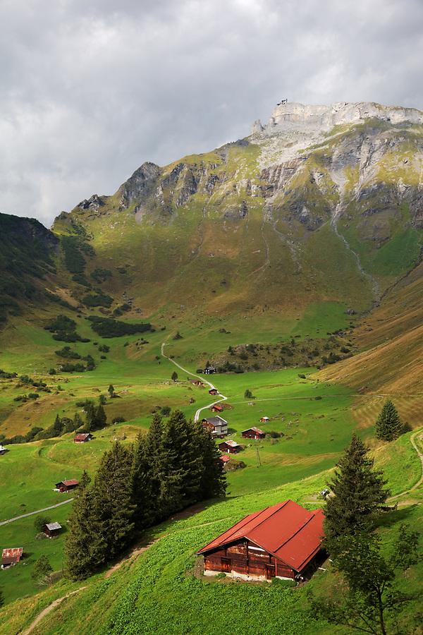 The Swiss mountain village of Schiltalp below the Schilthorn mountain, Bernese Oberland, Switzerland