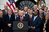 United States Vice President Mike Pence speaks on the South Lawn of the White House surrounded by United States President Donald J. Trump and Republican members of Congress after the United States Congress passed the Republican sponsored tax reform bill, the 'Tax Cuts and Jobs Act' in Washington, D.C. on December 20th, 2017. Credit: Alex Edelman / CNP