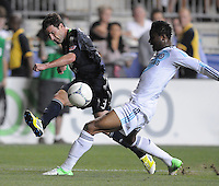 MLS All-Stars Chris Pontius makes a pass against Chelsea FC Romelu Lukaku (18) The MLS All Stars Team defeated Chelsea FC 3-2 at PPL Park Stadium, Wednesday 25, 2012.