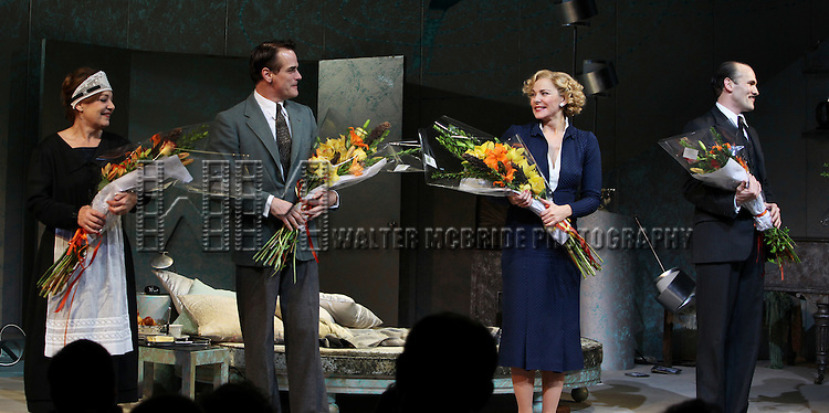 Caroline Lena Olsson, Paul Gross, Kim Cattrall & Simon Paisley Day.during the Opening Night Performance Curtain Call for 'Private Lives' at the Music Box Theatre in New York City on 11/17/2011.
