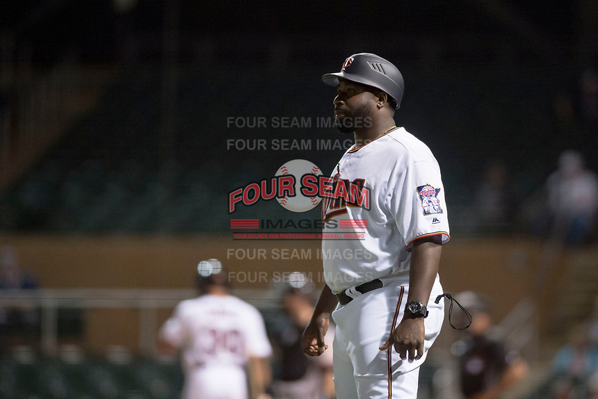 Salt River Rafters manager Tommy Watkins (8), of the Minnesota Twins organization, during an Arizona Fall League game against the Scottsdale Scorpions at Salt River Fields at Talking Stick on October 11, 2018 in Scottsdale, Arizona. Salt River defeated Scottsdale 7-6. (Zachary Lucy/Four Seam Images)