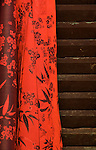 Silk Fabric 03 - Silk fabric against wooden shutters, Hoi An, Viet Nam
